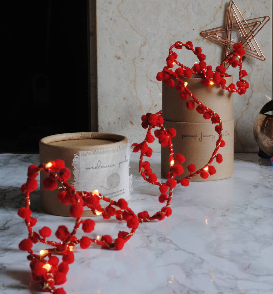 Handmade Red Pom Pom Fairy Lights String Battery powered for a table centrepiece Wedding ...