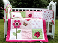 Menina fundamento do bebê Set 3D bordado rosa borboleta flor joaninha Quilt Bumper almofada travesseiro 4 Pcs berço da cama conjunto