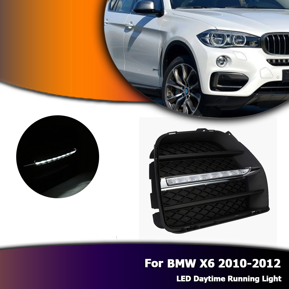 Auto Car LED DRL Daytime Running light Bumper Fog Lamp Covers White Daylights For BMW X6 E71 2010-2012 D35 auto led car bumper grille drl daytime running light driving fog lamp source bulb for vw volkswagen golf mk4 1997 2006 2pcs