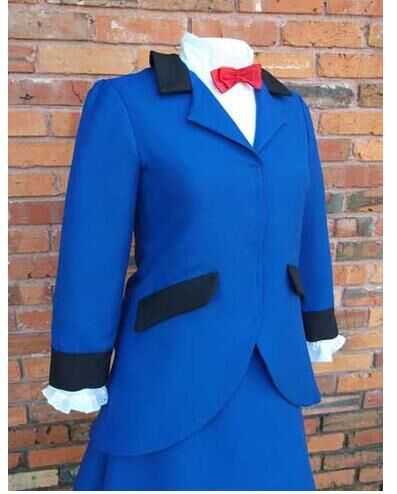 Custom Made Mary Poppins Nancy Blue Dress Costume Suit Outfit Halloween Cosplay Costume