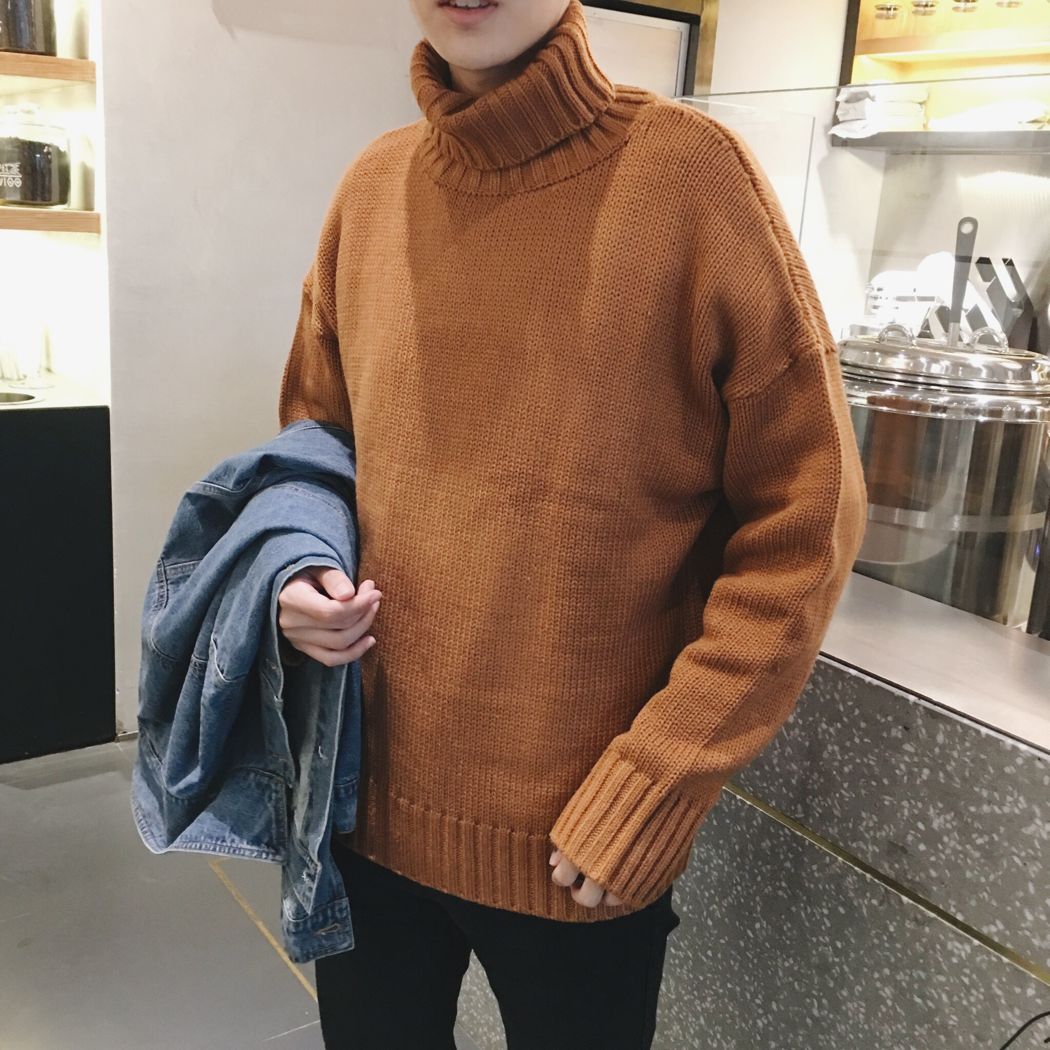 Turtleneck Sweater Men's Trend Couple Original Wind Loose Sweater Jacket Men's Autumn Winter Uniform 2019 New