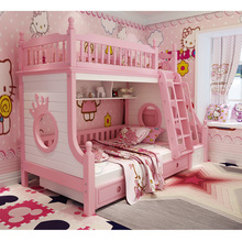 DS-602 All solid wood with Security Fence storage stairs Ladder cabinet colorful children bedroom furniture bunk bed furniture