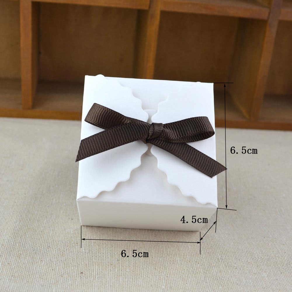10 pcs Retro Vintage Branco/Kraft Caixa de Papel Kraft De Mini, DIY Caixa de Presente Do Favor Do Casamento, pequeno Única Embalagem Caixa De Bolo Com Fita