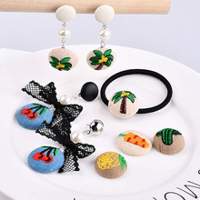 ФОТО embroidered cloth embroidered fruit earring hook diy handmade earrings hair brooch material bag
