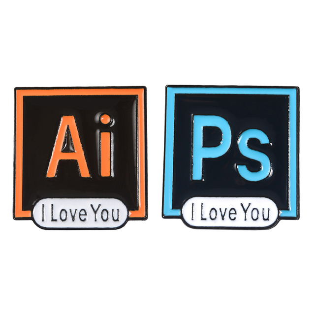 US $1 25 40% OFF|Photoshop Illustrator Enamel Pin I Love You Brooch  Software Icon AI PS Lapel Pins Brooches For Friend Designer Bag Shirt  Badges-in