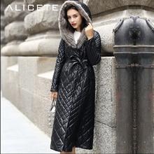 Caliente 2018 nueva moda de invierno sexy Slim cuero genuino abrigos largos Mujer cuero abajo trench abrigo de piel con capucha