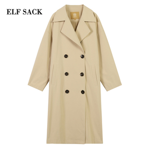 Image 5 - ELFSACK Plaid Back Casual Turn down Collar Double Breasted British Trench Coat Women 2019 Autumn Oversize Female Outwear