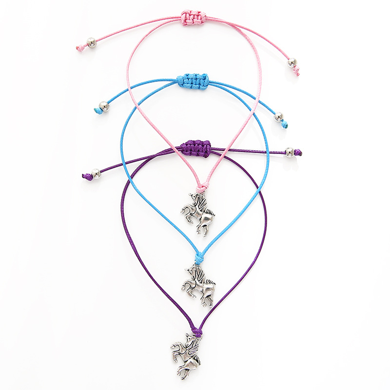 Unicorn Horse Card Bracelets Animal Love Make a Wish Charm Jewelry Wax Cords Women Men Girl Boy Unisex Gift Drop Shipping in Charm Bracelets from Jewelry Accessories