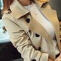 2016 Primavera Outono das mulheres/médio-longo parágrafo/Confortável/loose/Magro/Double breasted/tamanho grande/5XL casaco Corta-vento/tb251018