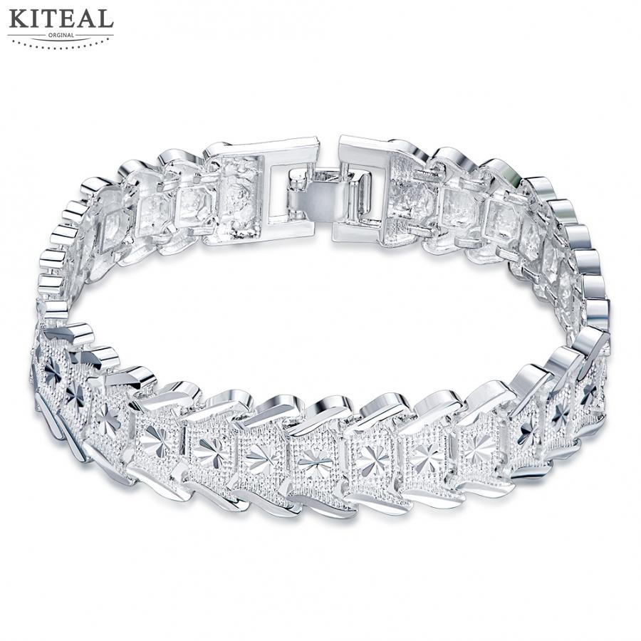 Men S Jewelry 2017 New Silver Plated Bracelet Charms Carve