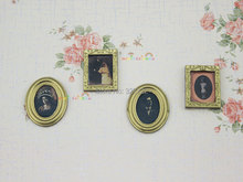 4pc Family Painting Picture Photo Frame For Barbie Blythe Bjd Doll Dollhouse Miniature 1:12 Wall Hanging