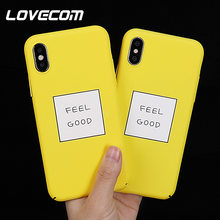 LOVECOM Amarelo Casos de Telefone Para o iphone XS Max XR X XS 8 7 6 6S Plus Matte Rígido PC letras Presentes Coque Telefone Full Body Back Cove(China)