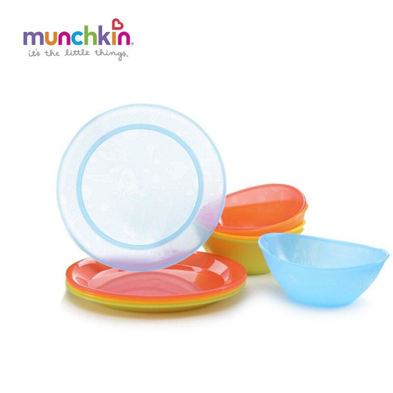 Conjunto 5pk bebés y niños Alimentación del bebé Munchkin Multi Placas y 5pk Multi bowls Niños muchacha del muchacho de los niños