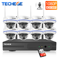 Techege 8CH 1080P H.265 inalámbrico NVR Kit 2.0MP Audio registro Correo electrónico alerta cámara IP a prueba de vandalismo seguridad Video vigilancia sistema