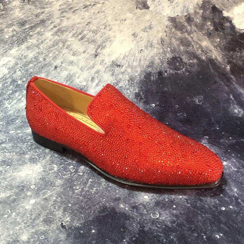 Роскошные Брендовые мужские лоферы; Модные Повседневные туфли на плоской подошве с украшением в виде кристаллов; блестящие свадебные туфли для вечеринки; деловая обувь; zapatos de mujer - 2