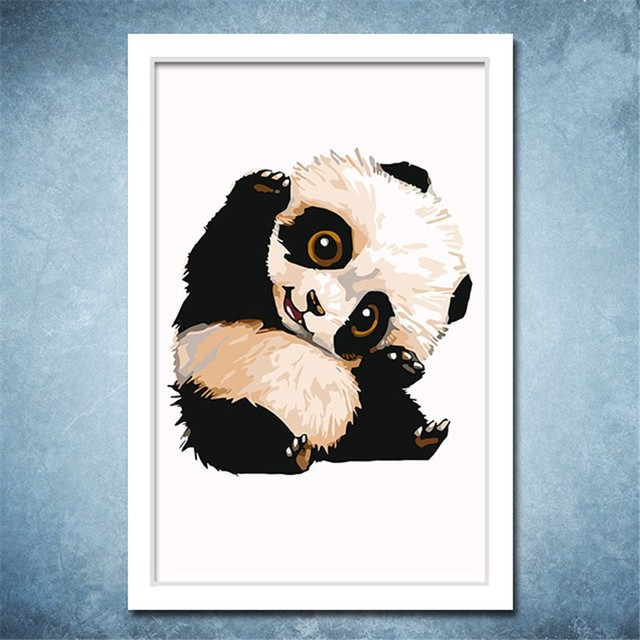 Cute Panda Cartoon Poster On Canvas Acrylic Painting