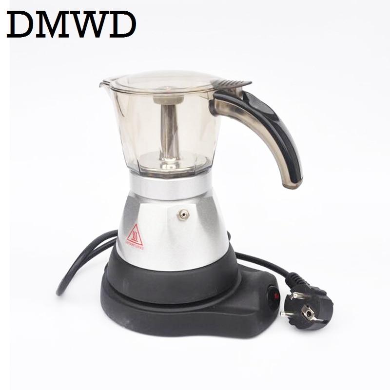 DMWD Electric Aluminum Stove top Coffee Maker automatic heating Mini Espresso Percolator pot Moka espresso coffee Kettle 3-6 cup italy espresso coffee machine semi automatic maker cup warming plate kitchen