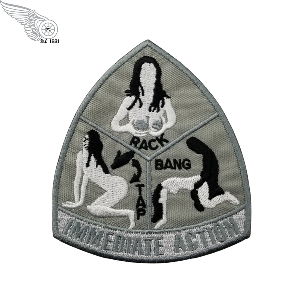 G0329 (1)Wholesale Immediate Action Tap Rack Bang Military Patch Iron on Uniform Morale Military Badge 4 Inches Patch