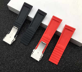 Black Yellow Red Blue Silicone Rubber Watch band 22mm 24mm Watchband Bracelet For navitimer/avenger/Breitling strap logo on
