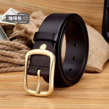 High Quality dark tan Genuine solid Leather Luxury Strap Male Belts For Men Jeans Casual Pin Buckle Masculine Copper buckle belt
