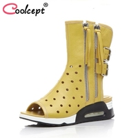 Coolcept Women Genuine Leather British Style Boots Fashion Zipper Tassels Wedges Boots Women Summer Vacation Boots Size 34 39