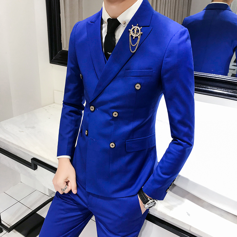 3 piece set / men's double breasted solid color slim suit, trend business professional wear, groom wedding dress stage costume