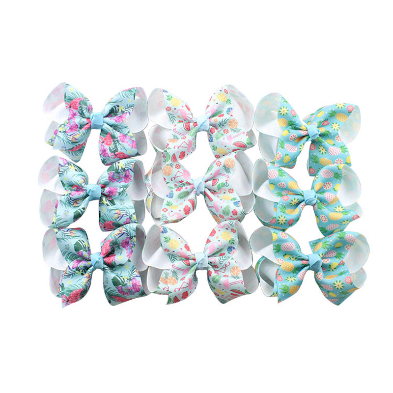 10Pcs/lot 4inches New Boutique Flamingo Printing Ribbon Bow Hair Clip For Children Headwear Kids Hair Accessories Hair Clips 12pcs lot children hair accessories dot printing bobby pin metal snap hair clip hairpin five pointed star hairgrip headwear girl