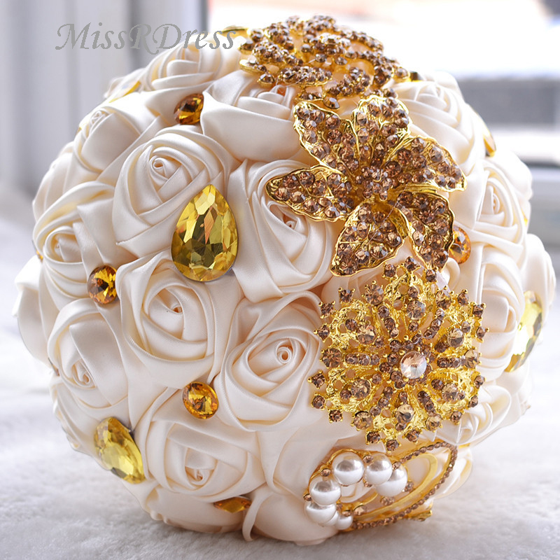 MissRDress Artificial Wedding Bouquets Gold Rhinestone Bridal Bouquet Crystal Red Rose Bridal Holding Flowers De Marriage JK315.