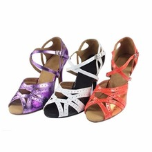 HXYOO New Arrived Salsa Dance Shoes Ballroom Shoes Women Latin Tango Gold Silver Soft Sole