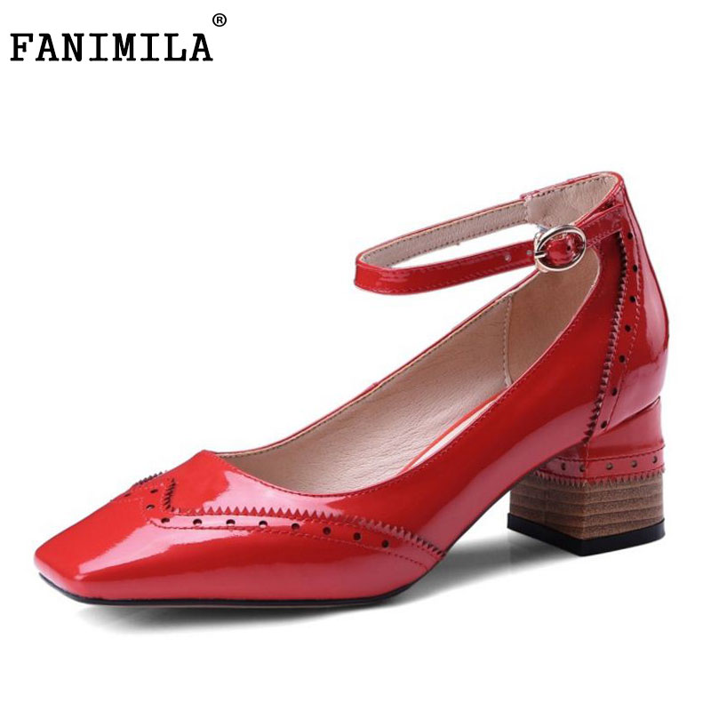 FANIMILA Real Leather Women High Heels Shoes Pointed Toe Thick Heel Pumps Ankle Buckle Party Pump Fashion Footwear Size 34-39 meotina high heels shoes women pumps party shoes fashion thick high heels pointed toe flock ladies shoes gray plus size 10 40 43