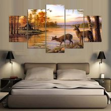 5 Pieces HD Canvas Painting Paint Animal Deer Modular Picture For Modern Decorative Bedroom Living Room Home Wall Art Decor(China)