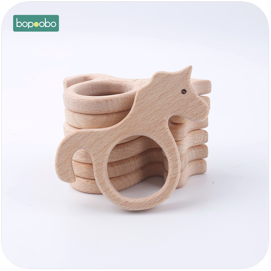 Bopoobo Baby Teether 1pc Beech Wood Teether Unicorn Fish Bird Flower Montessori Educational Toys Play Gym Accessories Baby Toys