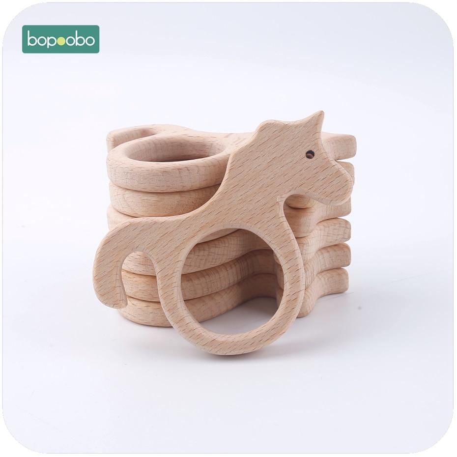 Bopoobo Baby Teether 1pc Beech Wood Teether Unicorn Fish Bird Flower Montessori Educational Toys Play Gym Accessories Baby Toys