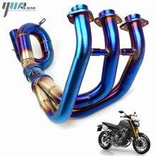Motosiklet MT 09 MT09 Motosiklet Mindle Egzoz Borusu Tam Bağlantı Borusu Sistemi Kayma On Bağlantı için Orta Boru Yamaha MT 09 mt 09