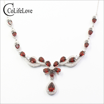 Elegant silver garnet necklace for party 17 pieces natural garnet silver necklace solid 925 silver garnet jewelry gift for girl