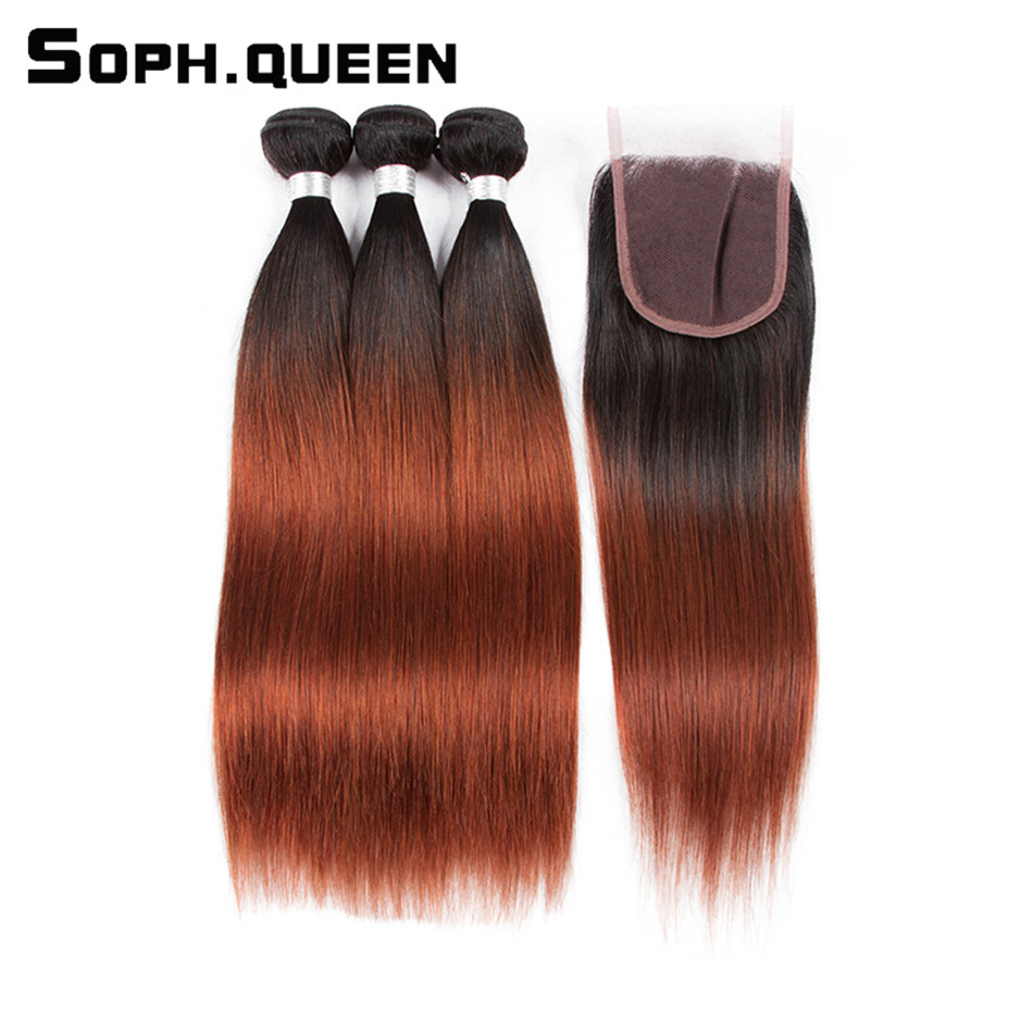 Soph Queen Hair Brasilian Straight Bundles Med Closure Non-Remy Hair - Menneskelig hår (for svart)