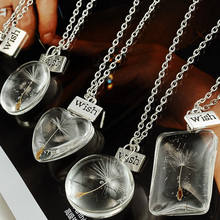 Women Silver Chain Necklace Dandelion Seed Wish Real Flower Glass Round Ball Necklace for Girls Lady Boho Jewelry Vintage 2017