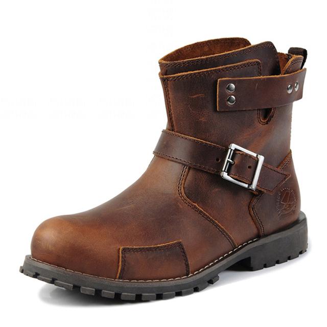 2016 Nova Marca de Moda Homens Botas de Couro Genuíno de Alta Qualidade Homens Botas Ankle Boots Outono Inverno Mens Botas Casuais