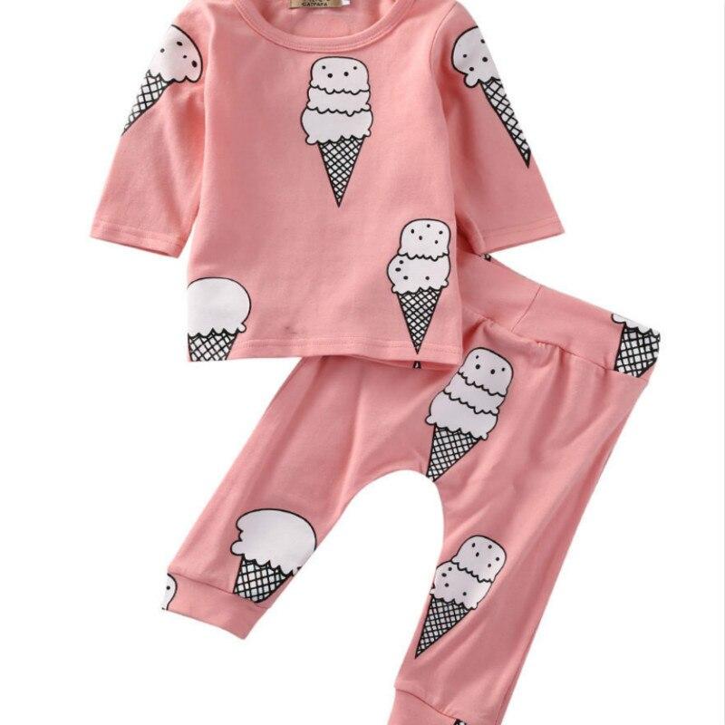 Hot Sale Infant Newborn Baby Girls Long Sleeve Ice Cream T-shirt Long Floral Pants Lovely Clothes 0-24 M 2Pcs Print Pink Set