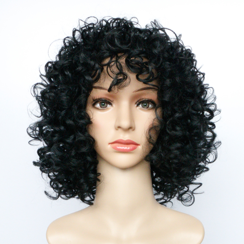 Gres Curly Brown/black Women Wigs High Temperature Fiber Long Lady Synthetic Hair Pieces Afro Puffy Headgear Hair Extensions & Wigs