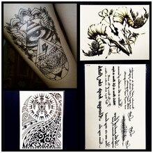 Fake Eye God Gem Temporary Tattoo Men Body Art Shoulder Arm Tattoo Sticker 21x15CM Black Totem Sexy Women Spray Tatoo Feather