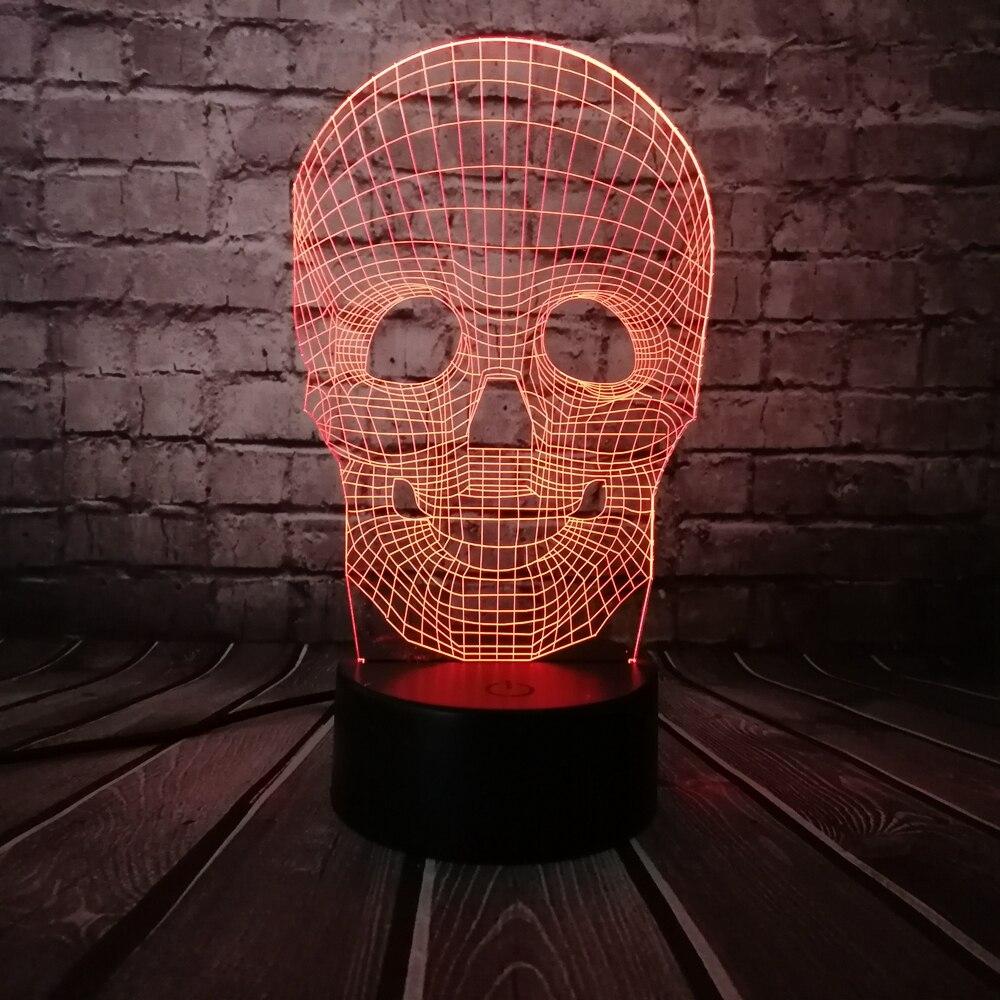 Venta al por mayor Cráneo de Halloween Colorido 3D USB Lámpara LED - Luces nocturnas - foto 2