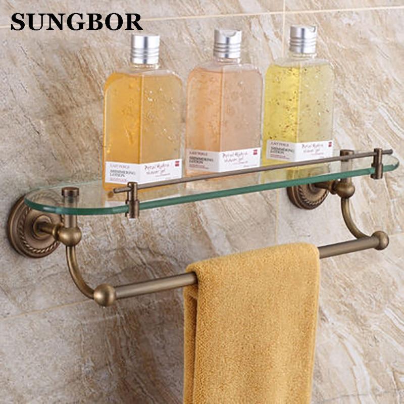 Brass Antique Single Tier Wall Mounted Bathroom Shelf With Bar Glass Bathroom Rack Accessories SY-4513F цена и фото