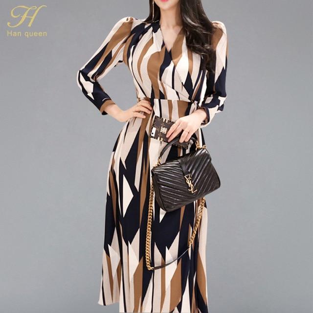 H Han Queen Sexy rayé imprimé robe femmes 2018 automne Style coréen col en v nœud pansement robes lâches Vintage longue balançoire robes