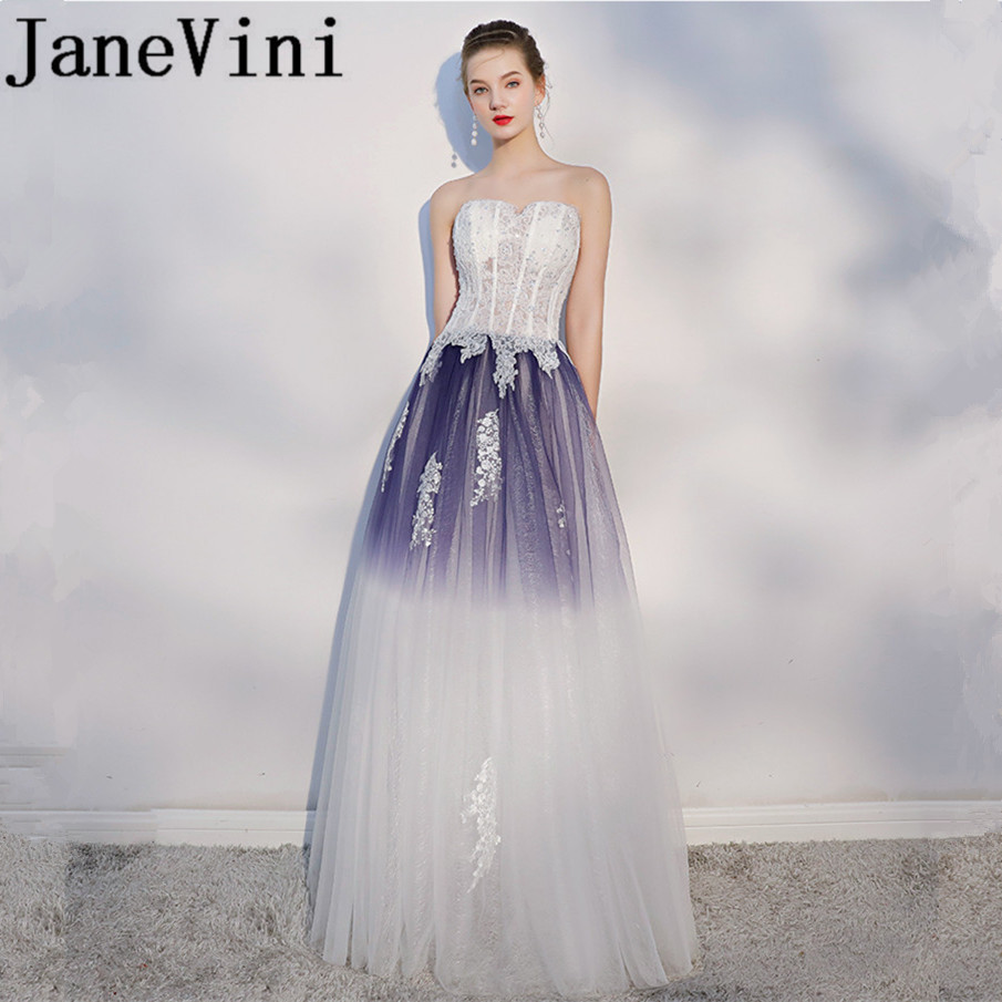 JaneVini Beautiful Gradient Long   Bridesmaid     Dresses   Strapless Sequins Lace Appliques Backless Floor Length Pageant Prom   Dresses