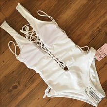 White One Piece Swimsuit Deep V