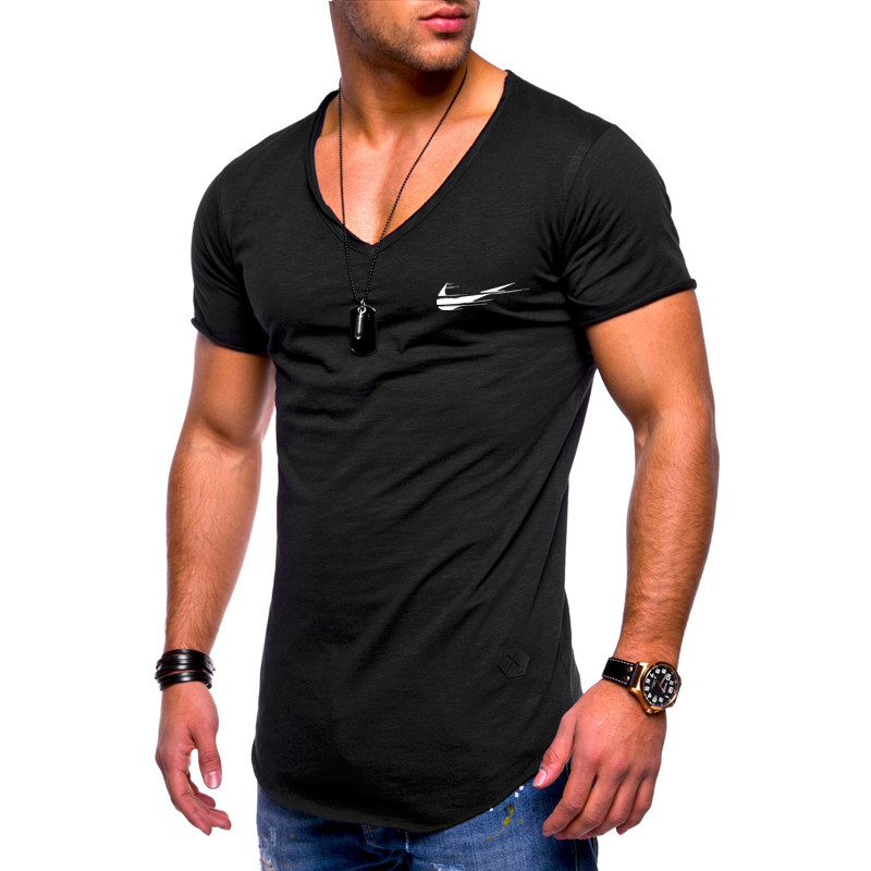 2019 New Arrived Deep V neck short sleeve men   t     shirt   Slim Fit   t  -  shirt   men Skinny casual summer tshirt camisetas hombre