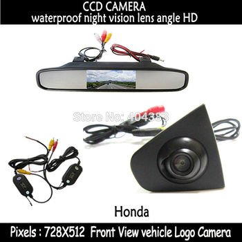 wireless CCD Vehicle logo Front view camera with 4.3inch mirror monitor for Honda Odyssey New accord Civic CRV Spirior Crosstour