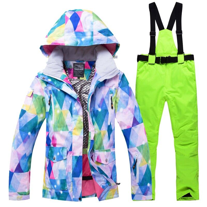Snowboard costumes femmes ski en plein air ensemble coupe-vent imperméable à l'eau hiver femmes sports de plein air vestes - 2