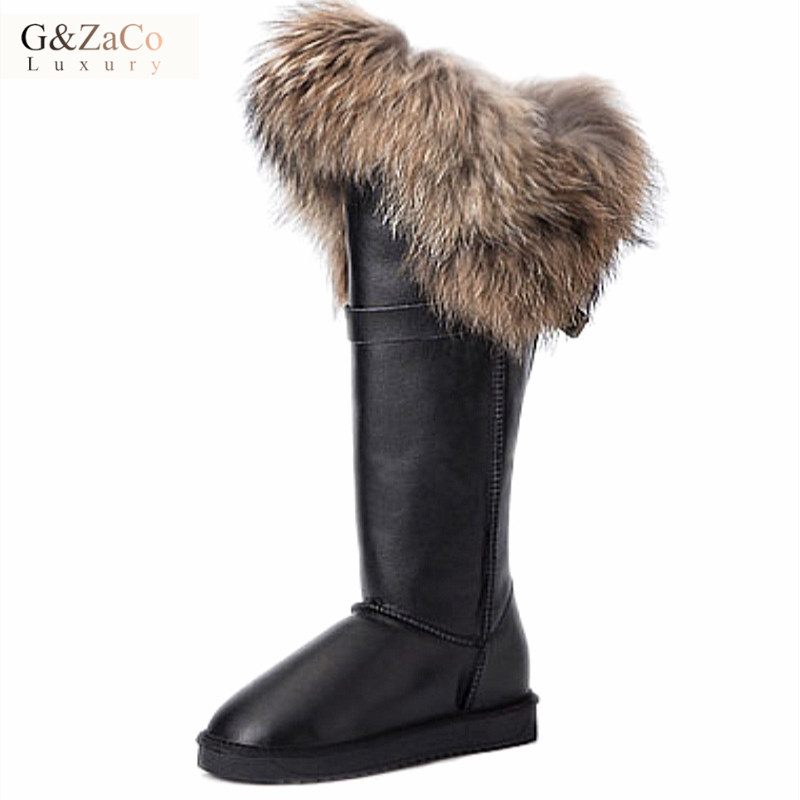 G&Zaco Luxury Genuine Leather Snow Boots Cow Natural Fox Fur Knee-High Boots Waterproof Flat Long Fur Boots Raccoon Fur Boots 2015 fashion luxury diamond flower design manual sticked shining purple genuine leather big fur boots mic calf high